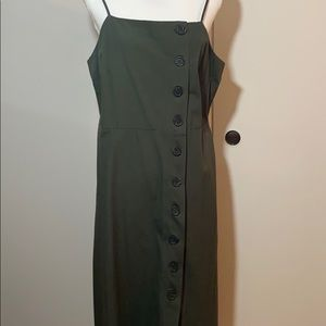WhoWhatWear army green column maxi dress.